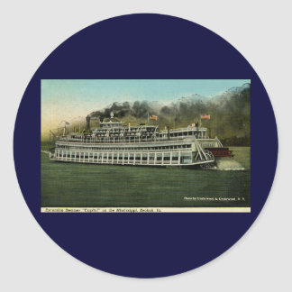 """Excursion Steamer """"Capitol"""" on the Mississippi Classic Round Sticker"""