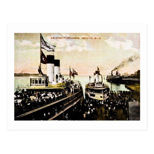 Excursion Steamers, Detroit, Michigan Postcard