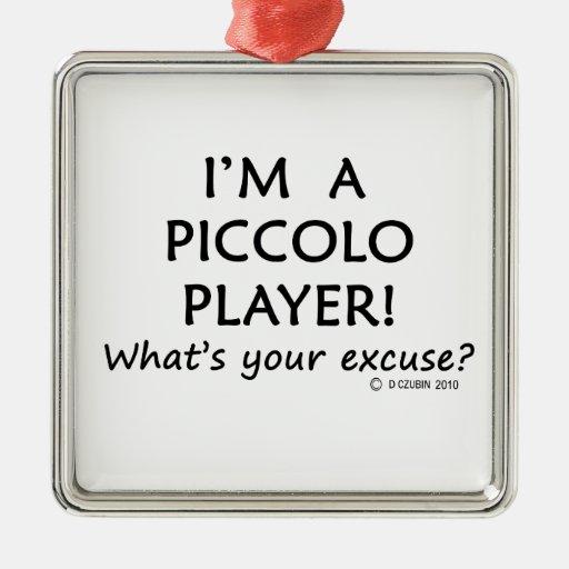Excusa de flautín del jugador adorno navideño cuadrado de metal