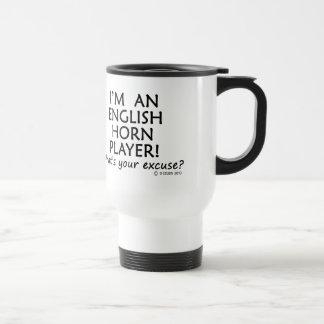 Excusa del jugador de cuerno inglés taza de viaje