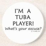 Excusa del jugador de la tuba posavasos diseño