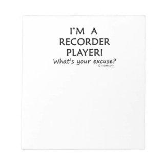 Excusa del jugador de registrador blocs de notas