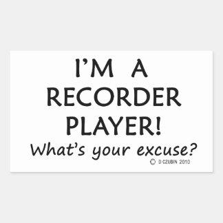 Excusa del jugador de registrador pegatina rectangular