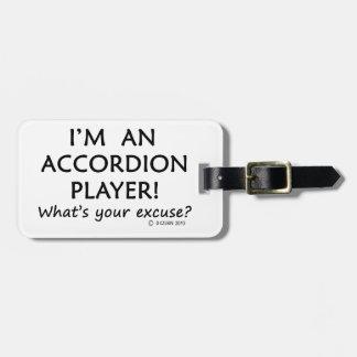 Excusa del jugador del acordeón etiquetas maleta