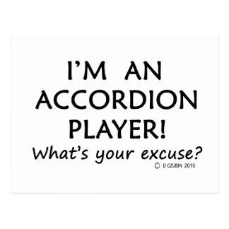 Excusa del jugador del acordeón postal