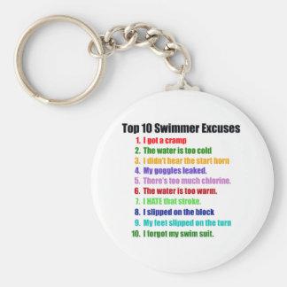 Excusas de los nadadores del Top Ten Llavero Redondo Tipo Pin