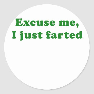 Excuse Me I Just Farted Classic Round Sticker