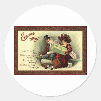 Excuse me Repro Vintage 1911 Round Stickers