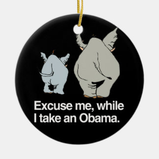 Excuse me while I take an Obama -.png Double-Sided Ceramic Round Christmas Ornament