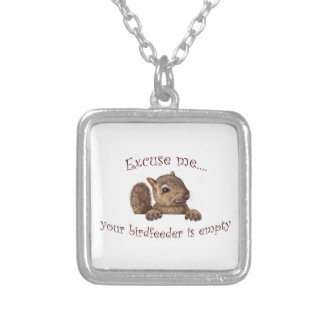 Excuse me...your birdfeeder is empty silver plated necklace