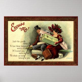 ¡Excúseme! Vintage 1911 de Repro Póster