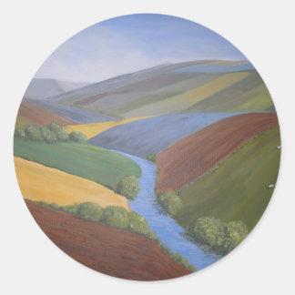 Exe Valley View by Janet Davies,Devon Classic Round Sticker