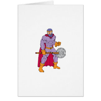 Executioner superhero with axe greeting card