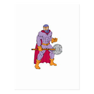 Executioner superhero with axe postcard