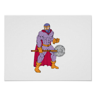 Executioner superhero with axe poster