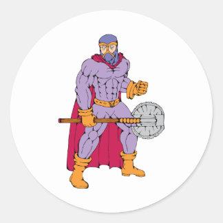 Executioner superhero with axe round sticker