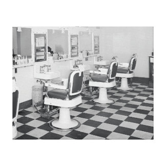 Executive Barber Shop, 1935. Vintage Photo Canvas Print