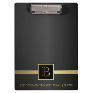 Executive Black & Gold Monogram Design Clipboard