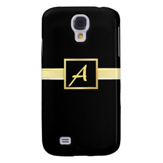 Executive Black - Gold Monogram iPhone3g Case Galaxy S4 Cover