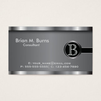Executive Black Steel Monogram Business Card
