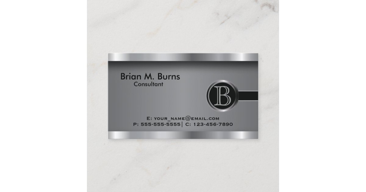 Executive Black Steel Monogram Business Card Zazzle Com