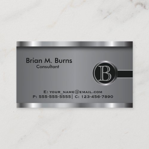 Executive Black Steel Monogram Business Card