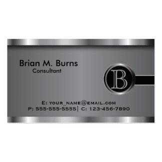 Executive Black Steel Monogram Double-Sided Standard Business Cards (Pack Of 100)