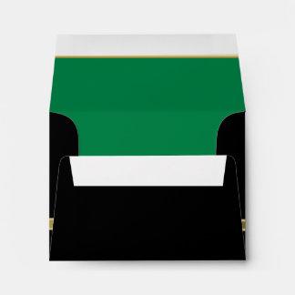Executive Black with Gold Monogram  | Green Envelope