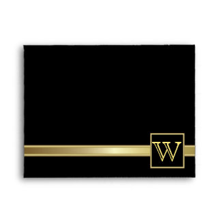 Executive Black with Gold | Monogram Plate Envelope