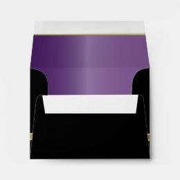 Executive Black with Gold Monogram Plate | Purple Envelope
