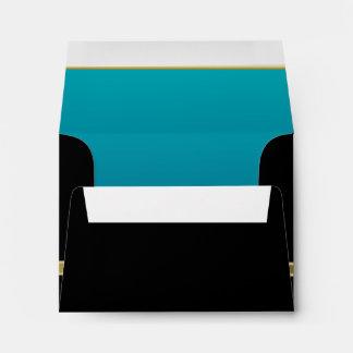 Executive Black with Gold Monogram  | Turquoise Envelope