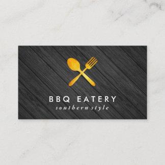 Executive Chef Golden Utensils Wood Trim Business Card