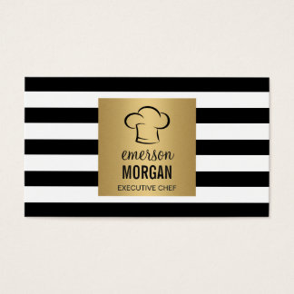 Executive Chef Hat Gold Square Black White Stripes Business Card