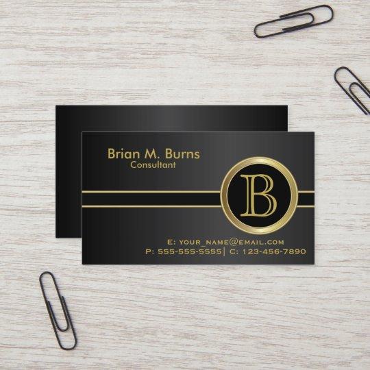 Executive classic black monogram business card zazzle executive classic black monogram business card colourmoves