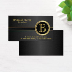 Executive Classic Black Monogram Business Card at Zazzle