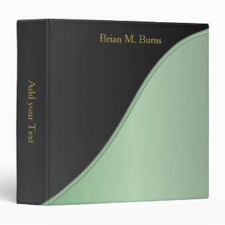 Executive Classic Black with Mint Green Accent 3 Ring Binder