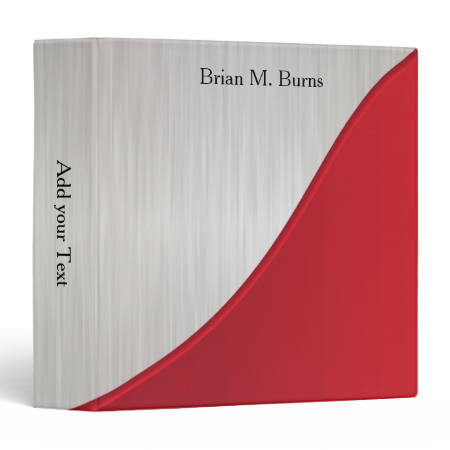 Executive Design with White Brush Steel | Deep Red Vinyl Binder