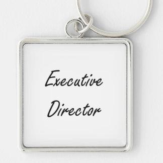 Executive Director Artistic Job Design Silver-Colored Square Keychain