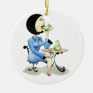 """Executive drinking tea""/ Ceramic Ornament"