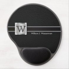 Executive Monogram Black Leather Gel Mouse Pad at Zazzle
