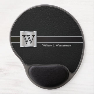 Executive Monogram Black Leather Gel Mouse Pad