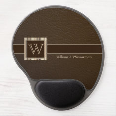 Executive Monogram Brown Leather Gel Mouse Pad at Zazzle