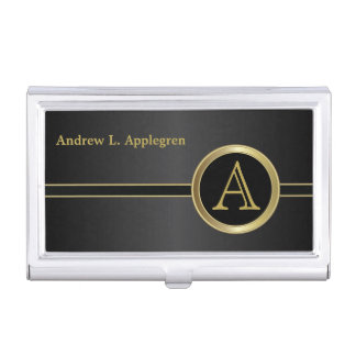 Executive Monogram - Classic Black Case For Business Cards