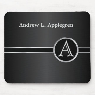 Executive Monogram - Classic Black & Silver Mouse Pad
