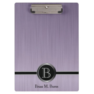 Executive Monogram Design - Amethyst Brush Steel Clipboard