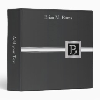 Executive Monogram Design - Black And Silver 3 Ring Binder