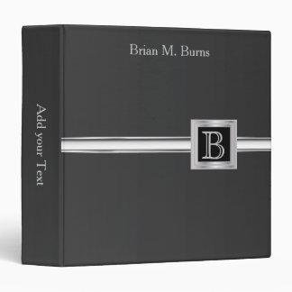 Executive Monogram Design - Black And Silver 3 Ring Binder