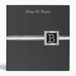 Executive Monogram Design - Black And Silver Binder
