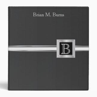 Executive Monogram Design - Black And Silver Binder