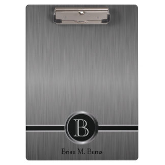 Executive Monogram Design - Black Brush Steel Clipboard